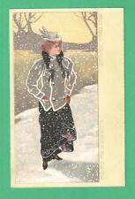 """Early Vintage German/French Art Postcard """"Snowflakes"""" Beautiful Flasionable Lady"""