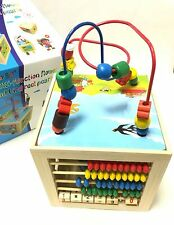 Kids Children Multi Function Wooden Activity Cube 5 in 1 Puzzle Clock Bead Maze