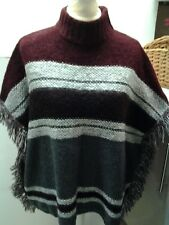 PONCHO FRINGED SIDES BURGUNDY MIX LADIES MED 14/16 ROLL NECK B.N.W.T.