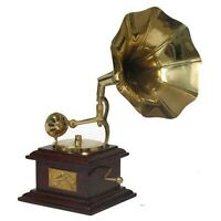 Gramophone Brass Horn Full Size Collectable Ornament Retro Reproduction