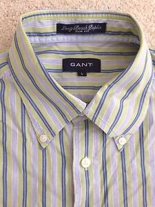 Men's GANT Slim Fit Green Striped Shirt Size L - Great Condition, RRP >$180