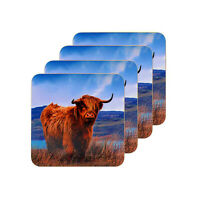 Set Of 4 Highland Cow Cork Backed Coasters Hot Cold Drinks Food Table Dining Mat