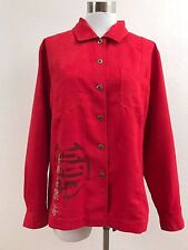Chico's, Red Button-down Shirt Top Blouse, Asian Inspired Art, Sz 1 (M, 8)