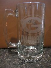 HUGE GREEN BAY PACKERS Hand Etched Beer Mug GLASS glasses