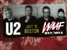 U2 sticker Boston Garden concert July '15 WAAF promo BONO RARE