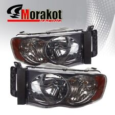 For 02-05 Dodge Ram 1500/2500/3500 Smoke Headlights Amber Turn Signal Reflector