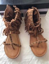 Not Rated Xenia Fringe Tan Sandals Size 7.5M