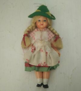 Antique Doll in traditional costume Plastic Doll small figurine Small 11cm