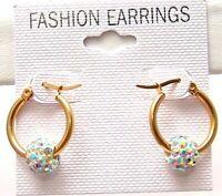 "Aurora Borealis Hoop Earrings Hypoallergenic Yellow Gold PVD Surgical Steel 5/8"""