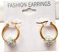 Aurora Borealis Hoop Earrings Hypoallergenic Yellow Gold PVD Surgical Steel 5/8""