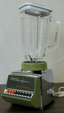 Vintage Oster Blender Chrome Olive Green Model 647 Series 05A