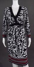 LIZ LANGE BLACK-WHITE-RED MATERNITY DRESS - SIZE L
