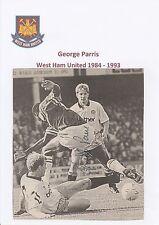 George PARRIS West Ham Utd 1984-1993 mano originale firmato giornale taglio