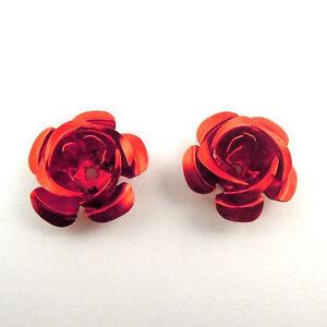 200 pcs Metal Red Flowers Embellishments Jewelry Making Art Crafts 15*15*10mm