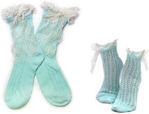 Lace Trim & Bow Pointelle Women Boutique Ankle Socks Aquamarine One size NIP