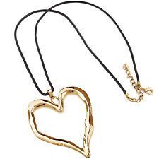 Lagenlook gold chunky large love heart pendant black leather long necklace