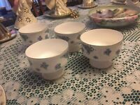 Royal Victoria Fine Bone China Blue Pansies Sherbet Cups Discontinued Set of 4