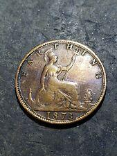 1873 QUEEN VICTORIA - BRONZE FARTHING COIN #June44