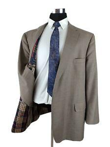 Tom James Custom Tan Light Brown Men Blazer Coat Suit Jacket Wool Nova Check 52L