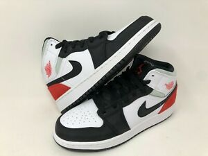Nike Air Jordan 1 Mid SE White Black Red-Igloo (GS) [ BQ6931-100 ] Size 5 Y