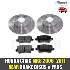 for HONDA CIVIC MK8 1.4 1.8 2.2 CDTi 06-11 REAR BRAKE DISCS & AND PADS NEW