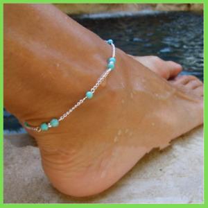 Fusskette Silber Perlen Türkis 23cm + 5cm Länge Design Fußkettchen für Frauen