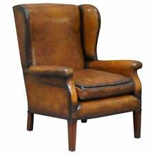 ELEGANT FULLY RESTORED EDWARDIAN BROWN LEATHER CLUB WINGBACK ARMCHAIR CIRCA 1900