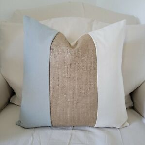 Natural, Gray and Beige Burlap Color Block Pillow Cover - Various Sizes
