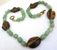 Tigers Eye and Green Stone Beads Chunky Statement Necklace 19 inches Agate