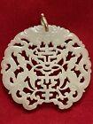 Chinese Intricate White Open Work Jadeite Pendant 14k Handmade Bale 18th 19th C