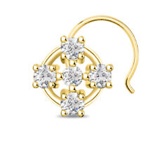 Sterling Silver Ladies Nose Pin Cz D/Vvs1 Five Stone 14K Yellow Gold Finish 925