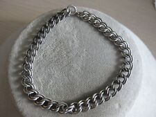 Estate Sterling Silver Charm Double Link Bracelet 7 inches 10.4 Grams