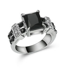 Size 6 Ladies Black Topaz Delicate 10KT white Gold Filled Anniversary Ring Gift