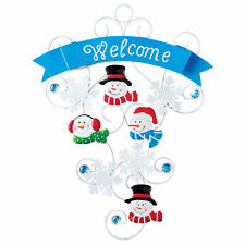 Christmas Snowman Sparkling Holiday Welcome Sign Door D�cor