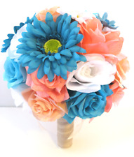 17 piece Wedding Bouquet Bridal Silk flowers CORAL PEACH AQUA TURQUOISE DAISY