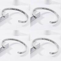 New Engrave Women Men Bracelet Stainless Steel Heart Star Bangle Bracelet Cuff