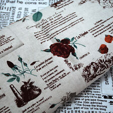 1m Shabby Chic Cotton Linen Craft Fabric Vintage Rose Flower Fairy Newspaper