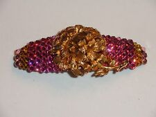 Crystals & VINTAGE FLOWER Jewelry BARRETTE Pink/Yellow LOVELY!