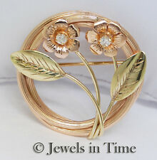 14k Rose & Green Gold & Diamond Floral Pin
