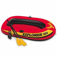 Intex Explorer 300, 3-Person Inflatable Boat Set with French Oars and High...