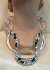 ALEXIS BITTAR Fancy Emerald Crystal Encrusted Clear Link Necklace - MSRP $595