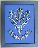 Large Scale Framed QUEEN'S OWN HIGHLANDERS Cap Badge Plaque