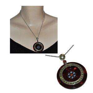 Collier plaqué argent chaîne pendentif résine cristal bleu vert bijou
