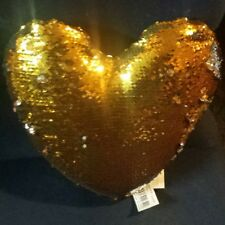 "12"" Magic Heart Shaped Pillow Reversible Sequin GOLD/SILVER Glitter Sofa Bed"