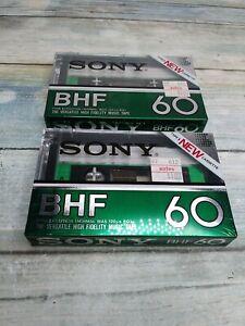 "2 SONY BHF 60 ""1982"" Type I Normal Position Cassette Tape #0260-1"