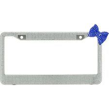 Clear 7 Rows Bling Diamond Crystal License Plate Frame With Corner Blue Bow Tie