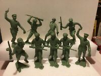 """Vintage Lot Of 9 1963 LOUIS MARX RUSSIAN 6"""" SOLDIERS Nice!! Green"""