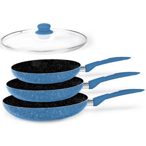 Stone Magic Blue Ceramic Marble Stone Coat Cookware Frypan Set/Non-stick Coating