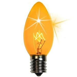 75 C9 Twinkle Yellow Triple Dipped Transparent Indoor/Outdoor Christmas Bulbs