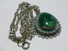HIGHLY ORNATE ISRAEL STERLING SILVER GREEN STONE BOOKCHAIN NECKLACE & PENDANT